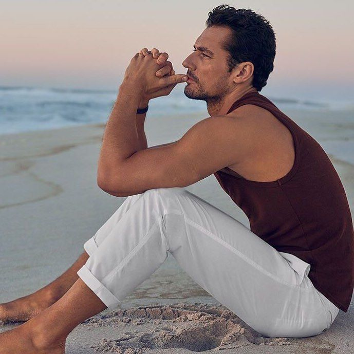 David Gandy For Autograph - M&S Beachwear Collection (Summer 2016) Cotton Rich Tailored Fit Vest with Linen Wine £15.00 & Pure Cotton Beach Joggers £29.50 by davidgandyfr