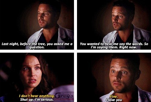 Alex: Last night, before the tree, you asked me a question. You wanted to hear me say the words. So I'm saying them. Right now. Jo: I don't hear anything. Alex: Shut up. I'm serious. Jo: Fine Alex: I love you. Jo and Alex on the Grey's Anatomy season 9 finale quotes