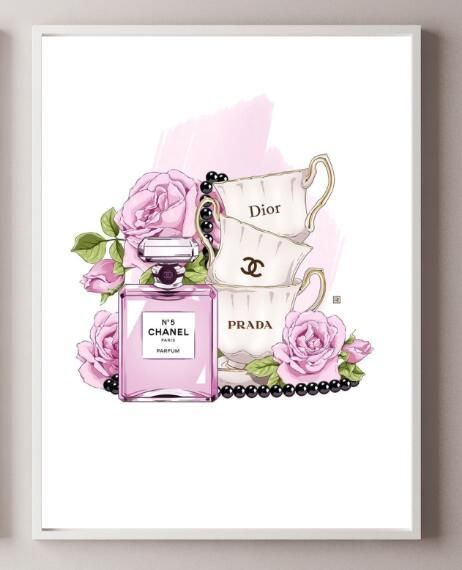 Modern Fashion Salon Art Home Inspired By Coco Chanel Perfume Fine Art Canvas Prints For Girls Bedroom Living Room Modern Home Decoration
