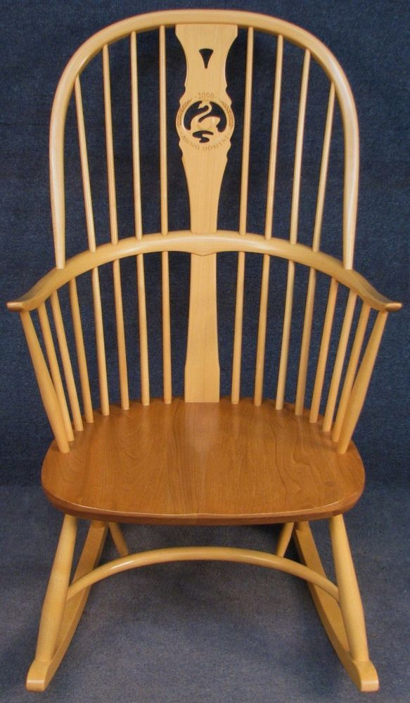 Ercol Elm Beech Windsor Chairmakers Millennium Swan Back Rocking Chair