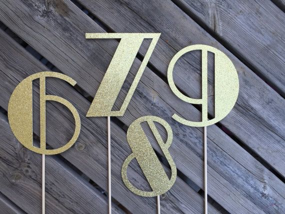 Table Numbers Centerpiece Numbers Art Deco by DinabDesign
