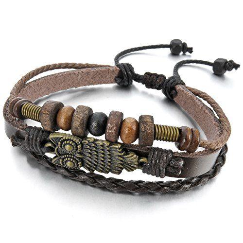 Aus der Kategorie Armschmuck  gibt es, zum Preis von EUR 0,99  Metalllegierung Legierung Echtleder Armband Manschette Braun Eule