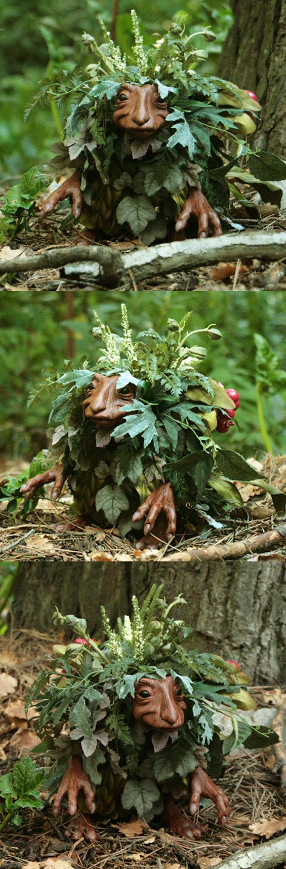 Trenti handmade Ooak creature fairy faerie goblin by FuegoFatuo--this is the little creature who hides in the trees, just out of Skyler's line of vision. So he thinks. She always sees him out of the corner of her eye....