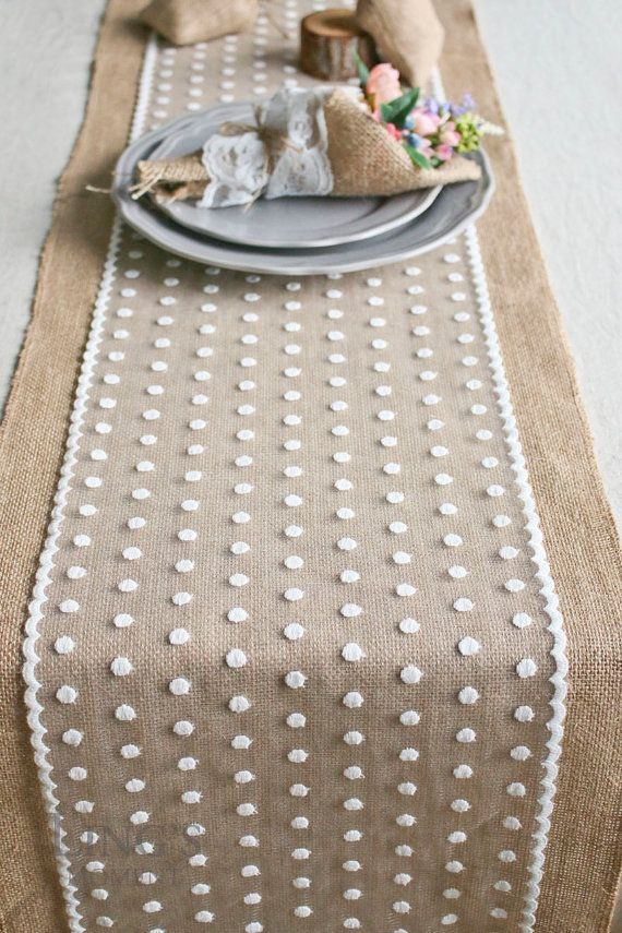 Charming Wide Burlap And Polka Dot Lace Table Runner Romantic Wedding Natural Jute Table  Runner Custom Length Wedding Tablecloth