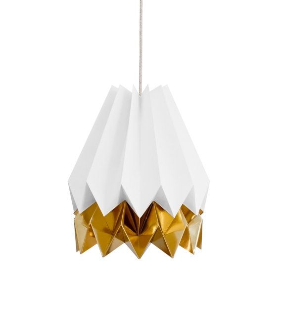 Origami Lamp | Polar White with Warm Gold Stripe | Original Lighting | FREE SHIPPING