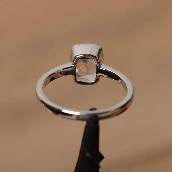 Genuino Morganita rosa piedras preciosas solitario anillo