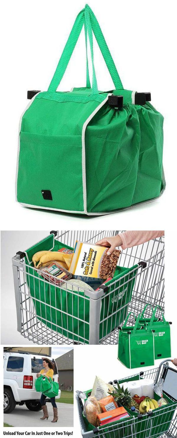 Set of 2 Grab Bags For Shopping Trolley Cart Clip On Eco Bags Reusable Tote UK