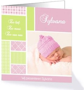 Schattig geboortekaartje van de collectie 'sweet and simple'.  De zachte kleuren en de tekst 'Zo lief, zo mooi, zo van ons' maken deze kaart heel lief.