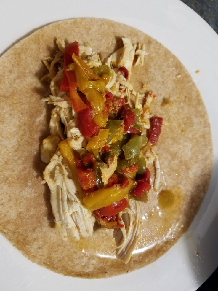 Instapot chicken fajitas..   1. 2 lb of thawed chicken breast  2. One package of Frozen peppers  3. One package of taco seasoning    Cooking instructions:  Add Frozen Peppers to the bottom of the instapot. Please chicken breast on top of Frozen peppers. Mix taco seasoning in 1 cup of water. Pour taco seasoning mixture over chicken and peppers. Cook on meat /stew setting for 35 minutes. Do quick release. Now I serve mine on wheat tortillas. But you can use whatever you want..