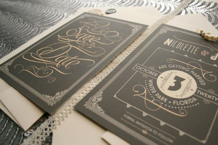 Art deco wedding save the dates inspired by the Great Gatsby & roaring twenties by PaperStreetPress, $25.00  #Great #Gatsby #save #the #dates #art #deco #gray #gold #glam #diy #typography #no #photo