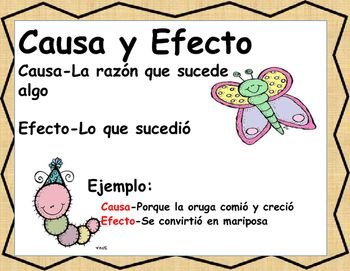 24  Spanish Cause and effect task cards are included. Includes a definition of cause and effect. Tasks cards begin focusing on either the cause then the effect. Task cards have visual support. Then they progress to short passages. They may be used whole group, warm ups, bellringers or literacy stations.