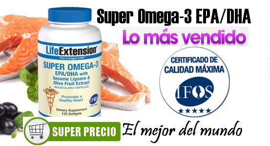 Super Omega 3 EPA - DHA . El mejor suplemento del mundo de Omega-3. Aceite de pescado de grado farmacéutico con poder anti-inflamatorio aumentado. Sello 5 estrellas IFOS