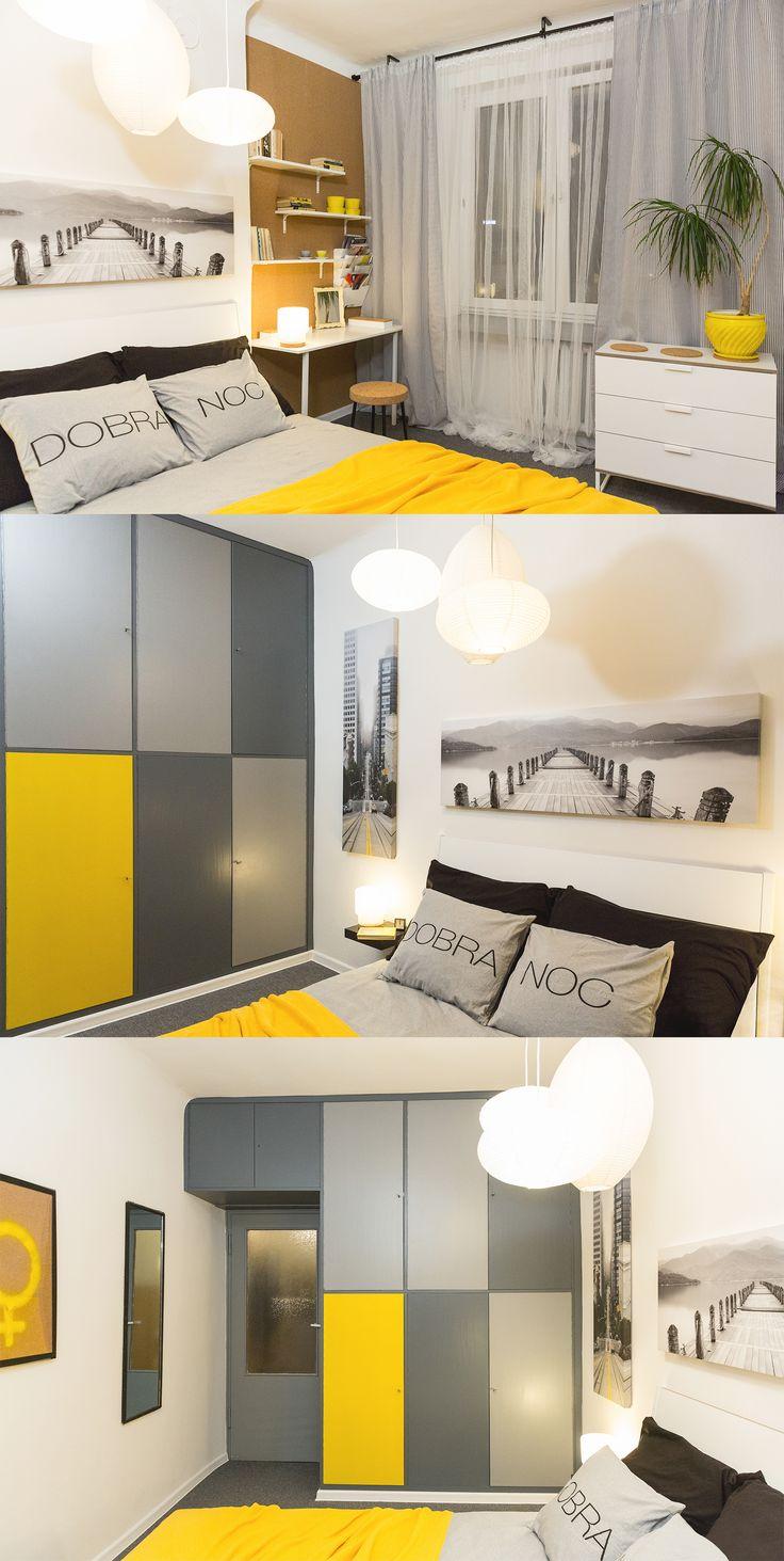 Sypialnia młodej pary wygenerowana ze starej sypialni babci. Żółty, to ulubiony kolor bohaterki.