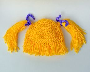 Wig- Bangs & Pigtails Crochet Pattern for Costumes or Dress-up