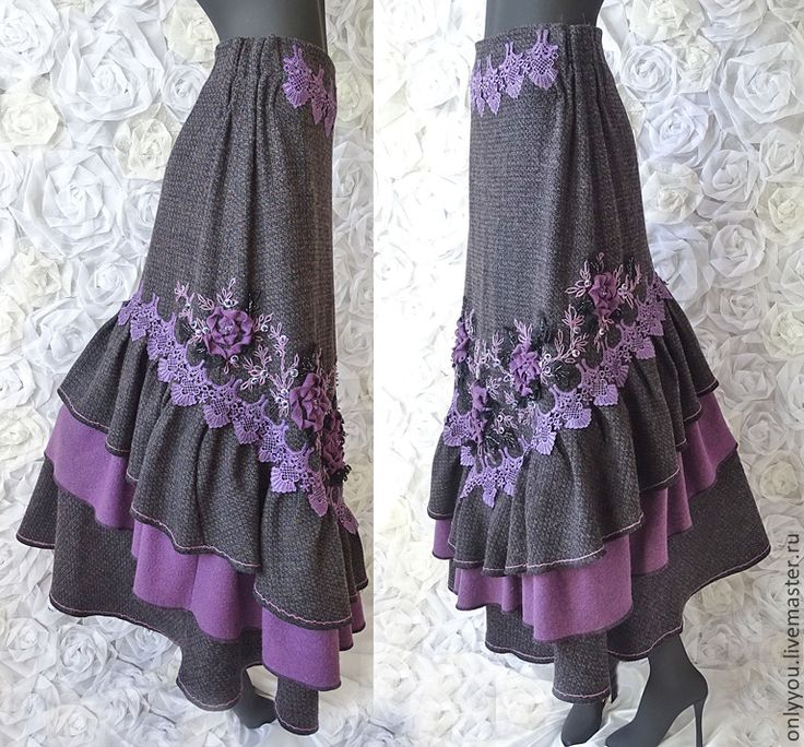 Купить Юбка «Викторианский сад». - фиолетовый, цветочный, лавандовый цвет, серый, бохо, бохо шик