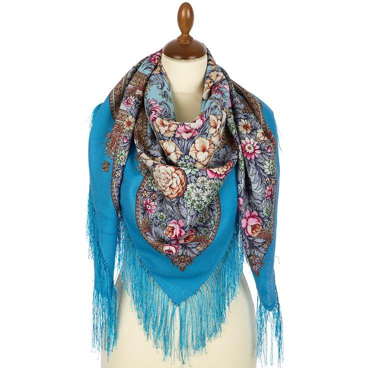 "Russian shawl ""Golden days 828-11"". Traditional Russian wool shawl, Pavlovo Posad shawl. Free Shipping. Best price guarantee."