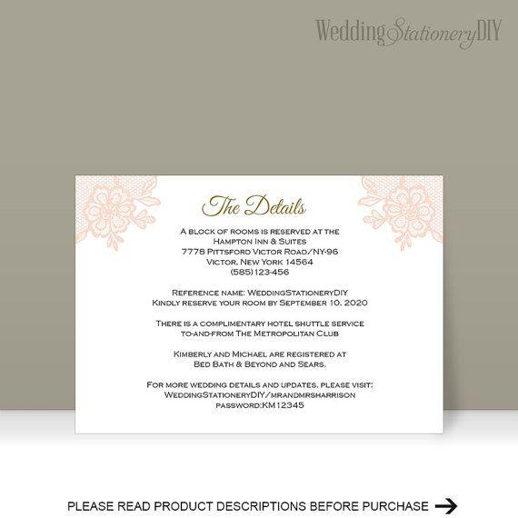 Printable Insert cards Wedding information by WeddingstationeryDIY