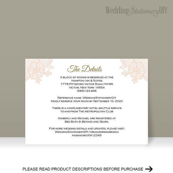 Printable Insert cards Wedding information by WeddingstationeryDIY