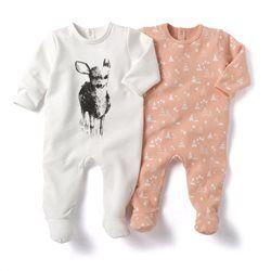 Pyjama à pieds en molleton (lot de 2)