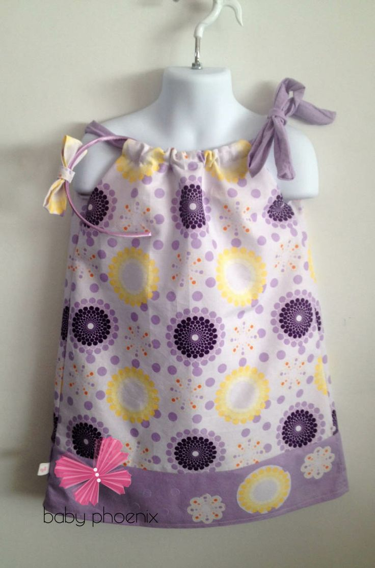 Spring pillowcase dress with appliques and matching headband www.facebook.com/babyphoenix2011 www.babyphoenix2011.ca