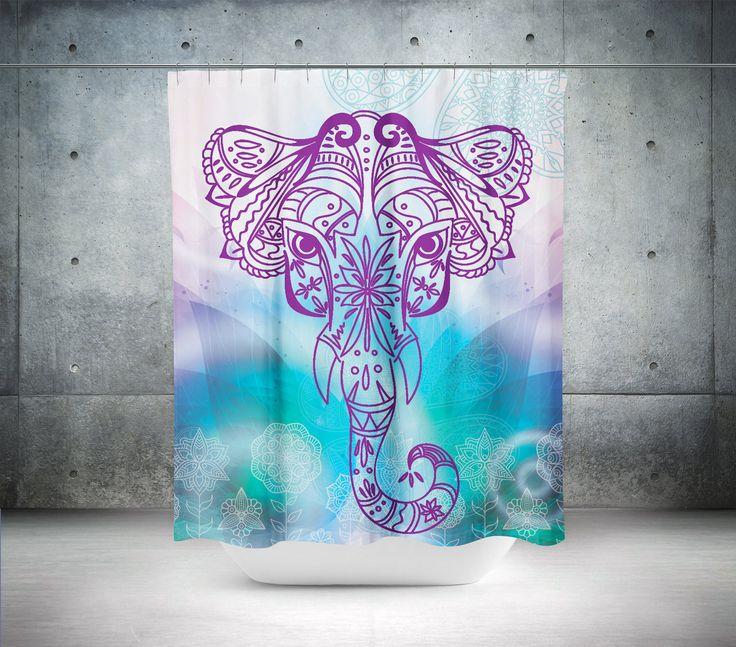 Elephant Shower Curtain,Boho Shower Curtain,Mandala Shower Curtain,Shower,Mandala Curtains Boho Curtain,Curtain Sacred Design,Bathroom Decor by GoodArtUK on Etsy