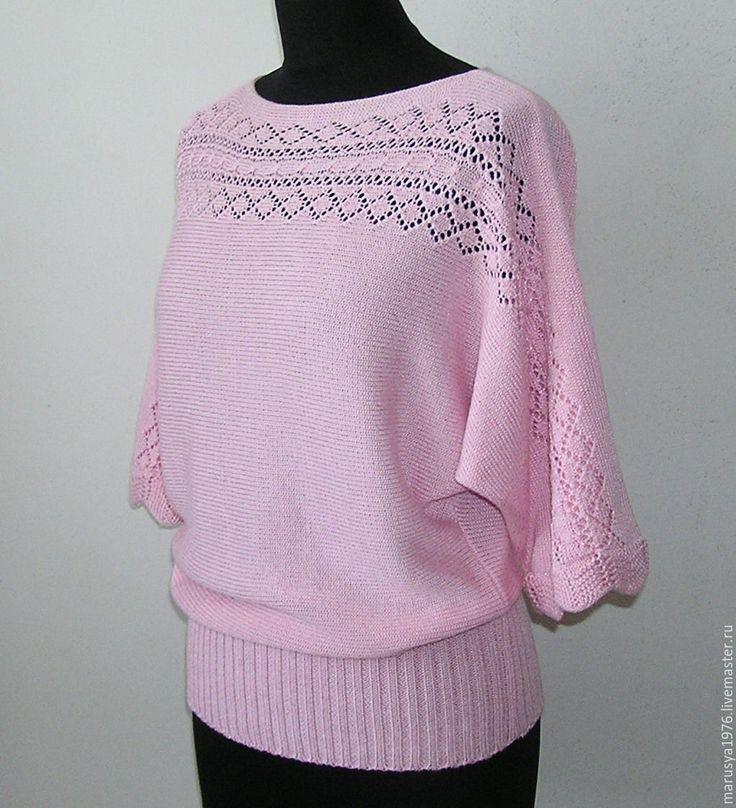 Купить Летучая мышь. Розовая - летучая мышь, вырез лодочкой, женская одежда, Машинное вязание