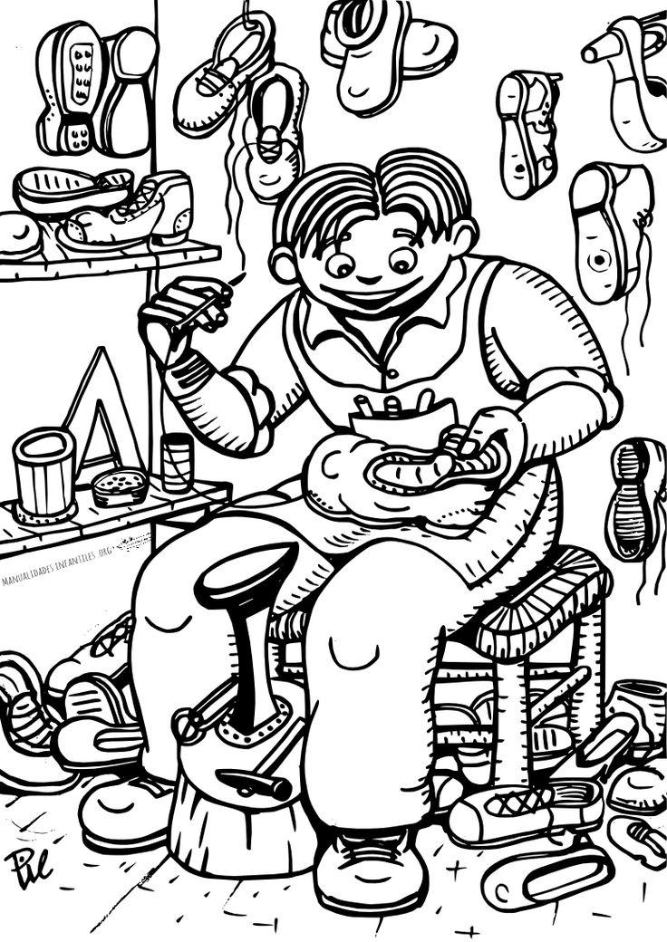 Oficios artesanos zapatero para colorear profesiones - Zapatero para ninos ...