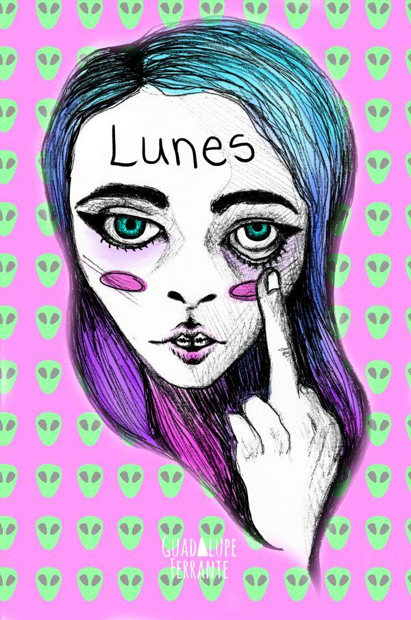 Fucking Mondays / Illustration by Guadalupe Ferrante, via Behance