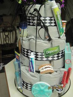 Make them an adult diaper cake. | 19 Ways To Troll Someone Turning 40