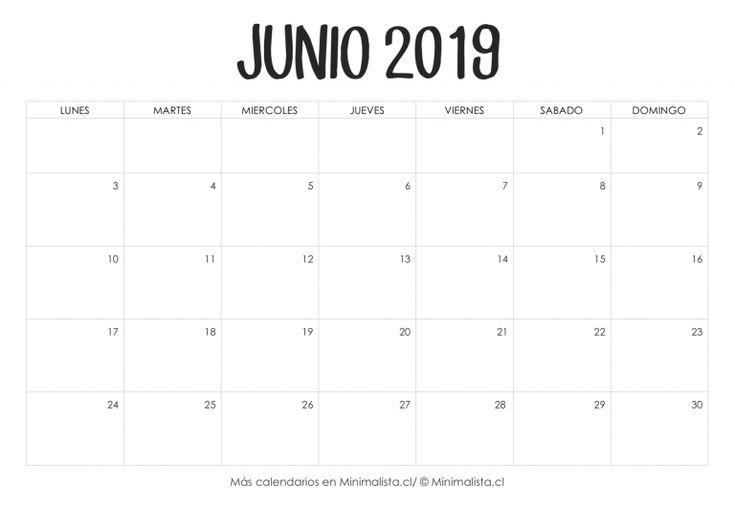3affb66e37d27 Calendario Junio 2019 para Imprimir