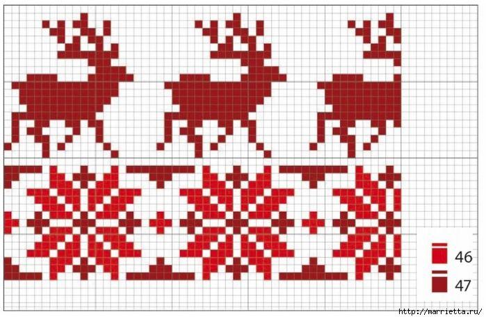 Рождественская вышивка на подушках. Схемы (4) (700x459, 243Kb)
