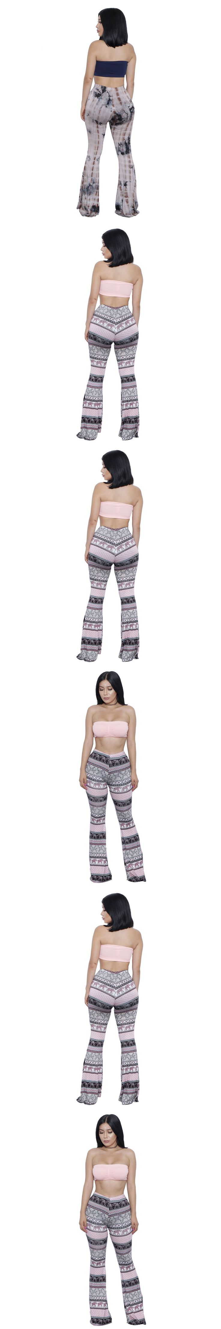 Women's print summer fashion sleeveless Strapless Crop Tops long wide leg pants Flare pants sexy club party Dancing