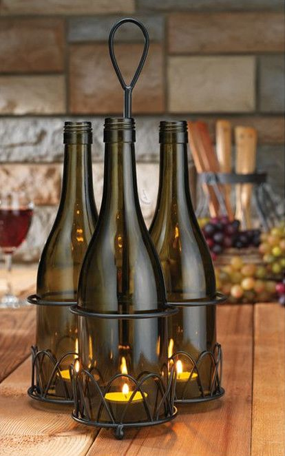 wine bottle tea light votives ideas para mi casa. Black Bedroom Furniture Sets. Home Design Ideas