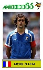Michel Platini of France. 1986 World Cup Finals card.