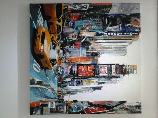 """""""Rush Hour Time Square"""" 100 x 100cm Acrylic on canvas"""