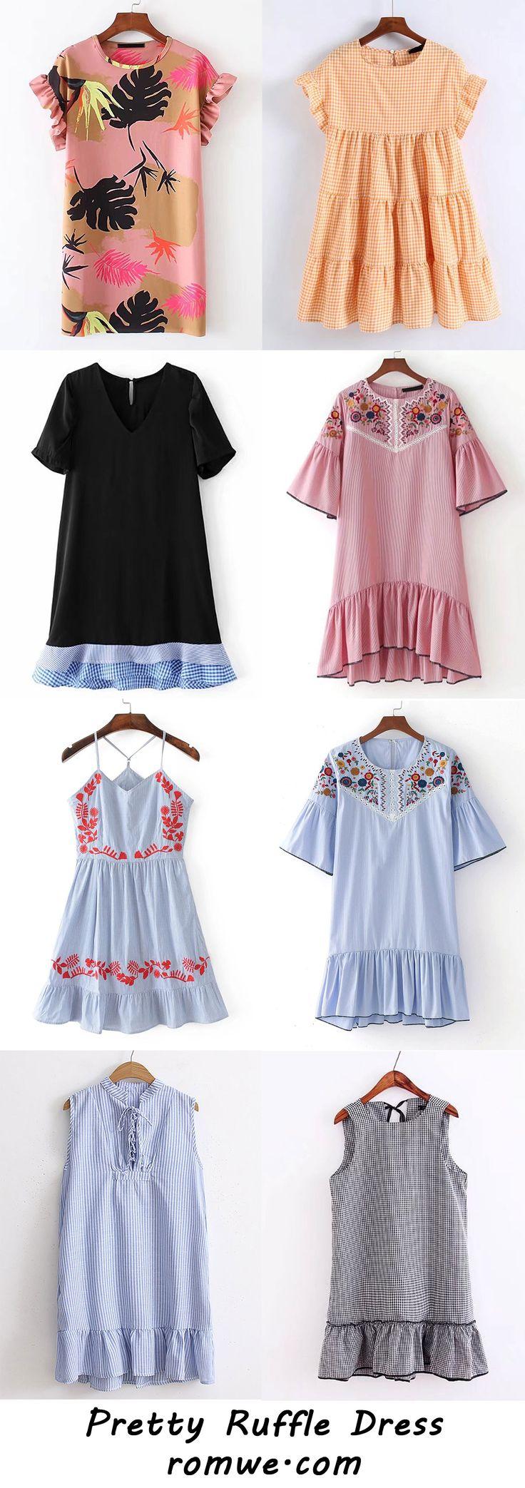 Pretty Ruffle Dresses 2017 - romwe.com