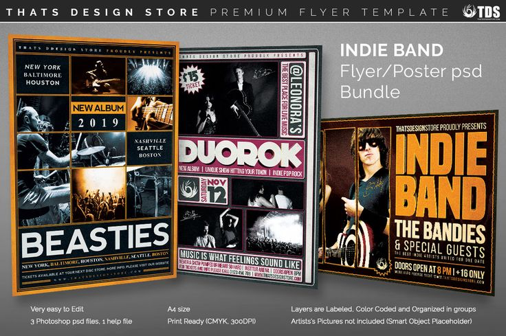 3 FLYERS PSD - Indie Band Flyer Templates More Flyer template - band flyer template