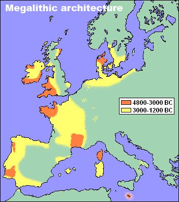 Spread of megalithic architecture in Europe.