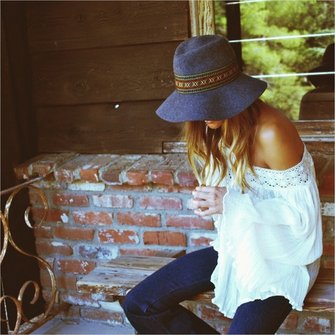 off-the-shoulder white blouse