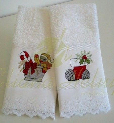 Toalha de lavabo Natal. Uma ótima opção para de presente e de decoração. www.ehbordados.com.br