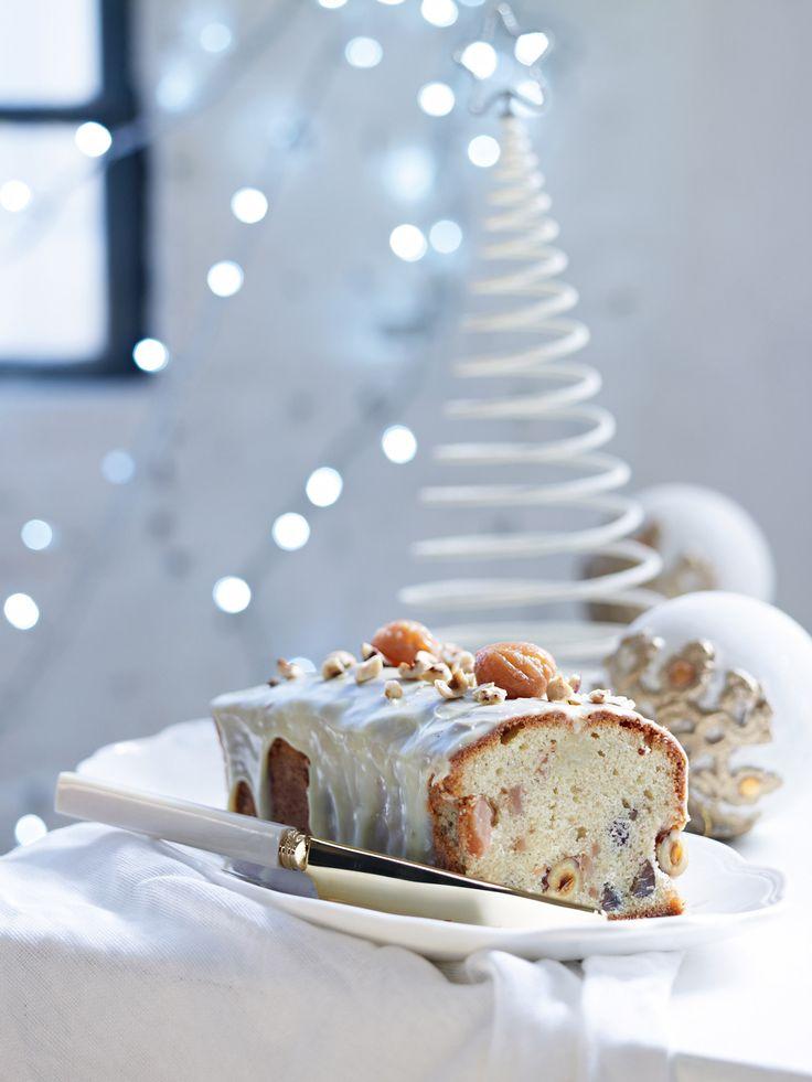 Κέικ με κάστανα και γλάσο λευκής σοκολάτας