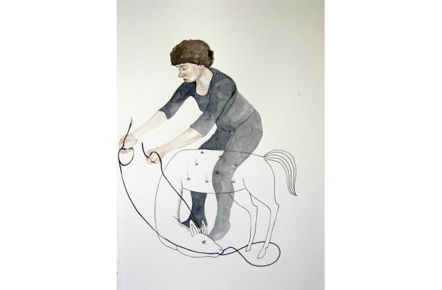 Rodeo Queen (Collaboration Erik Jerezano & Kristin Bjornerud)  |Encre et aquarelle sur papier (ink and watercolour on paper) |2008