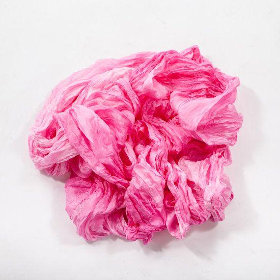 Boho chic wrinkled silk scarf for women / Pink ruffled silk