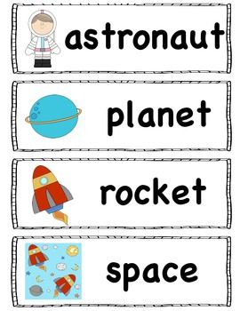 SPACE THEME Activities - Great for INQUIRY on space in kindergarten.  Literacy (syllable, writing response, CVC write the room) and math centers (space graph and counting cards).  Vocabulary for pocket chart.  0-10 Number cards.