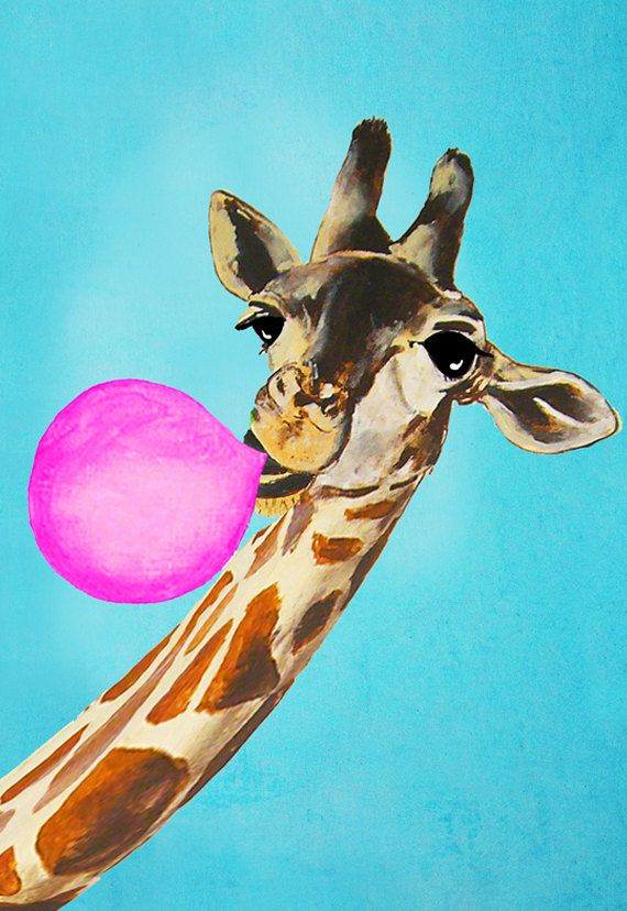 Animal painting fox portrait painting Giclee Print Acrylic Painting Illustration Print wall decor Wall Hanging: Giraffe with bubblegum