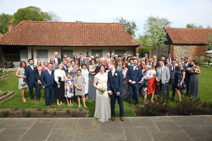 fun group shot at granary barns wedding