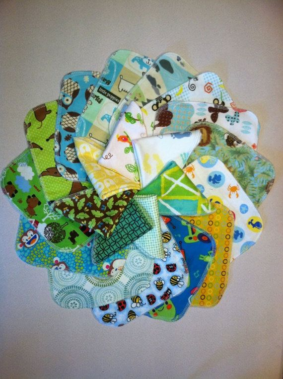 """LOVE all the greens! (Im familiar with a couple of these patterns, love how the fabric feels!) 30 Reusable Cloth Baby Wipes- 7""""x7"""""""