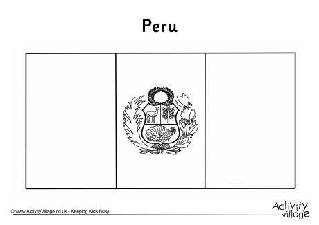 Peru flag colouring page