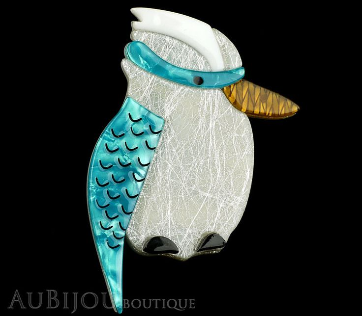 Erstwilder Bird Brooch Pin Kallista the Kookaburra Blue Silver