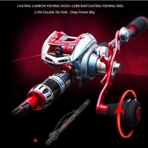 89.69$  Buy now - http://alim1t.worldwells.pw/go.php?t=32332108650 - Top 2 Tips 2.1M Casting Rod with ML M Baitcasting Rod Carbon Fishing Pole Power Rod+Reel+Fishing Bags varas de pesca de carbono 89.69$